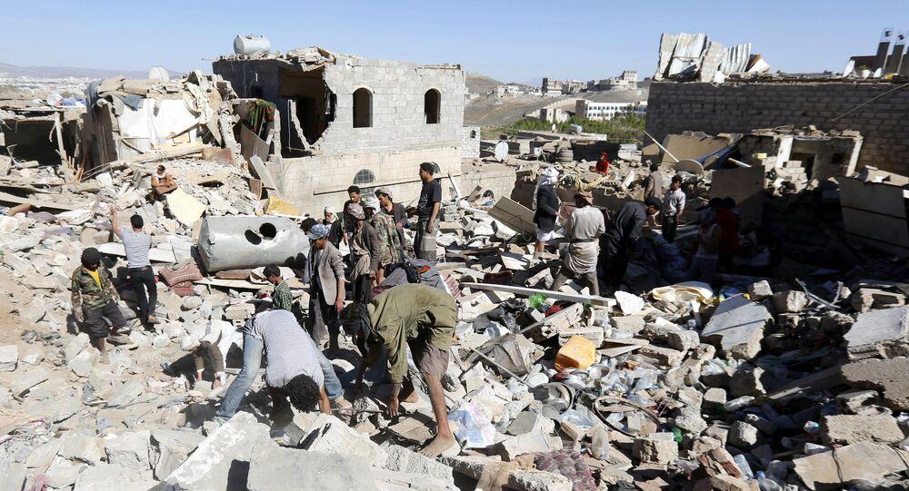 Maisons détruites au Yémen