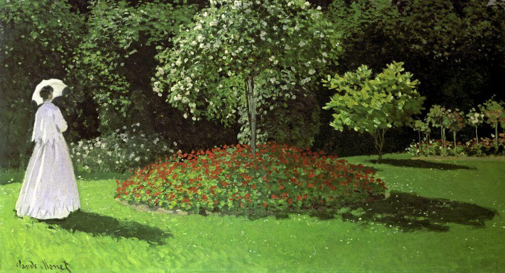 Claude Monet. La Dame en blanc au jardin