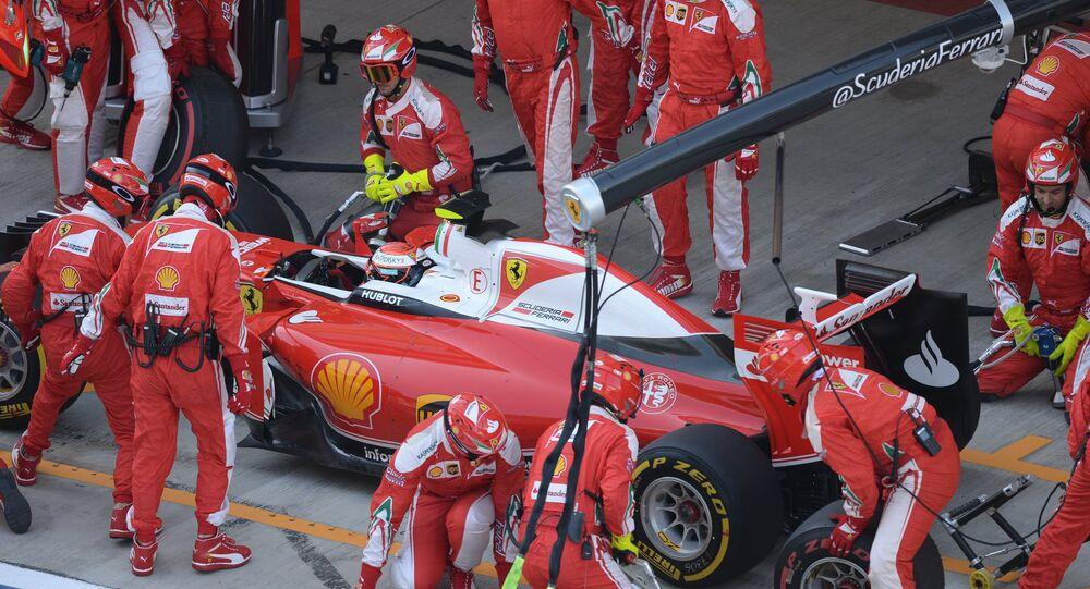 Le pilote de Ferrari, Kimi Raikkonen, pendant un GP de Russie de Formule 1