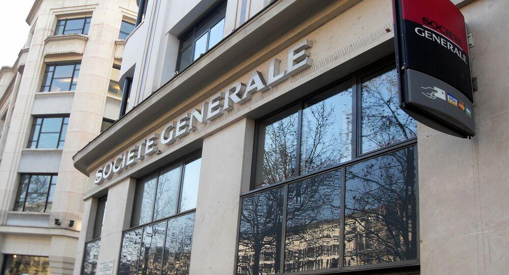 Un edificio del banco Société Générale en Champs-Elysees Paris