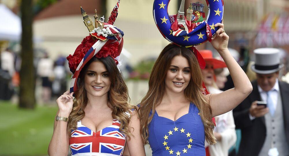 Racegoers in Britain and EU referendum themed dresses