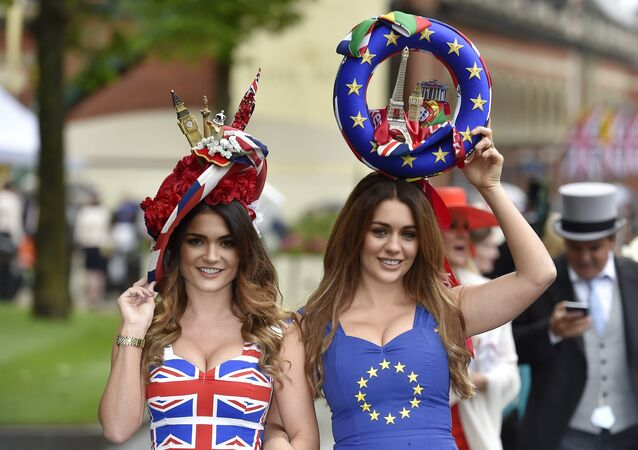 Racegoers in Britain and EU referendum themed dresses