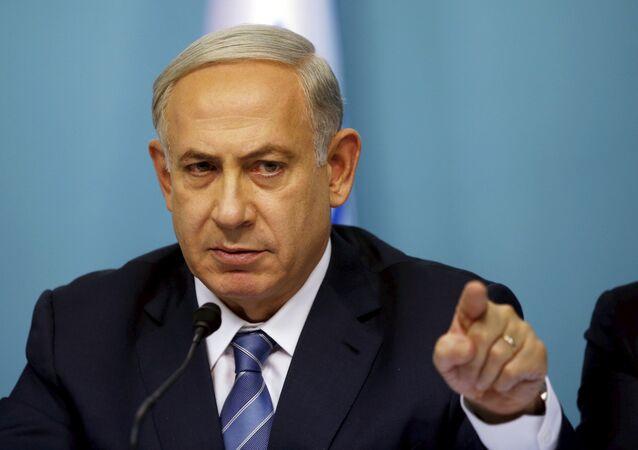 Le premier ministre israélien Benjamin Netanyahu  au cours d'une conférence de presse à Jérusalem le 8 Octobre 2015.