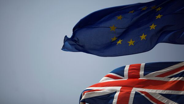 Drapeaux du Royaume-Uni et de l'UE (image d'illustration) - Sputnik France