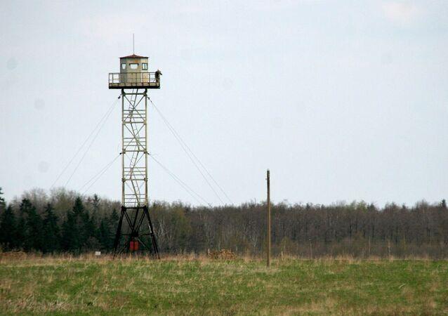 Frontière de la Lettonie avec la Russie. Archive photo
