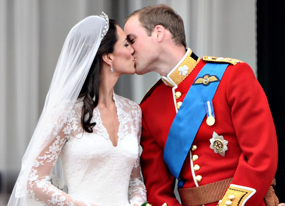 Le Price William et la princesse de Galles Catherine Middleton sur le balcon du Palais de Buckingham.