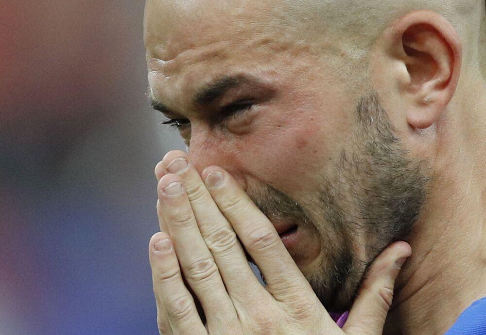 Le footballeur français Christophe Jallet après le match France-Portugal.