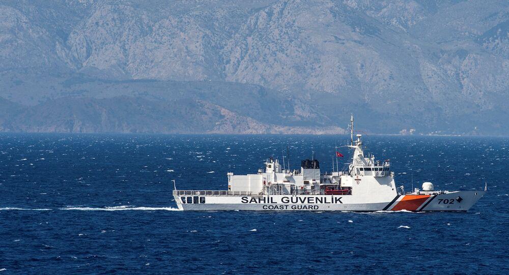 Un navire turc en mer Égée. Image d'illustration
