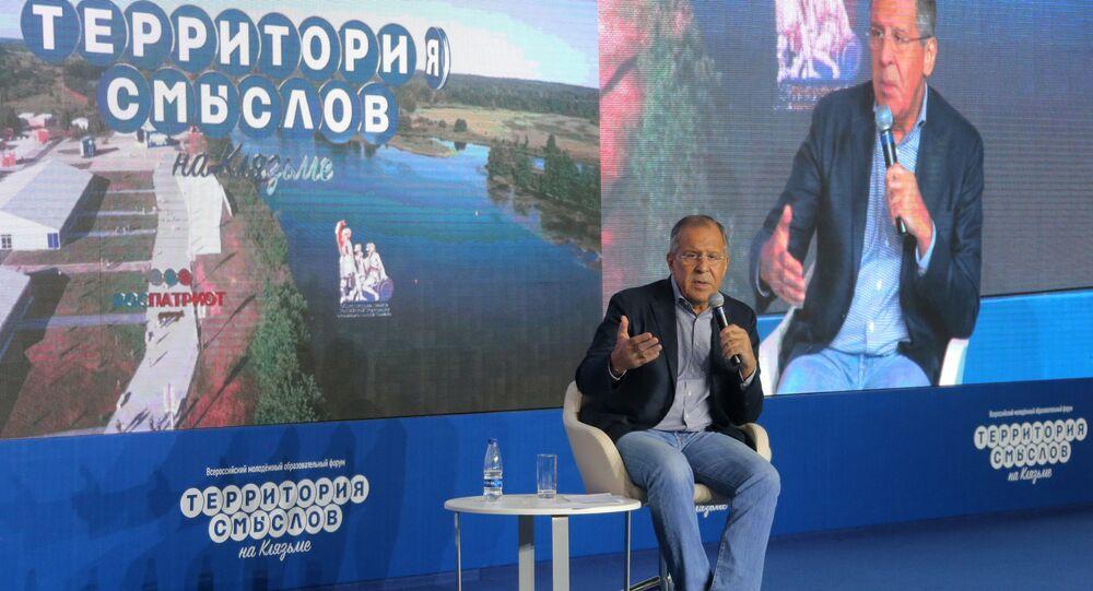 Le ministre russe des Affaires étrangères Sergueï Lavrov participe forum international Terra Scienta