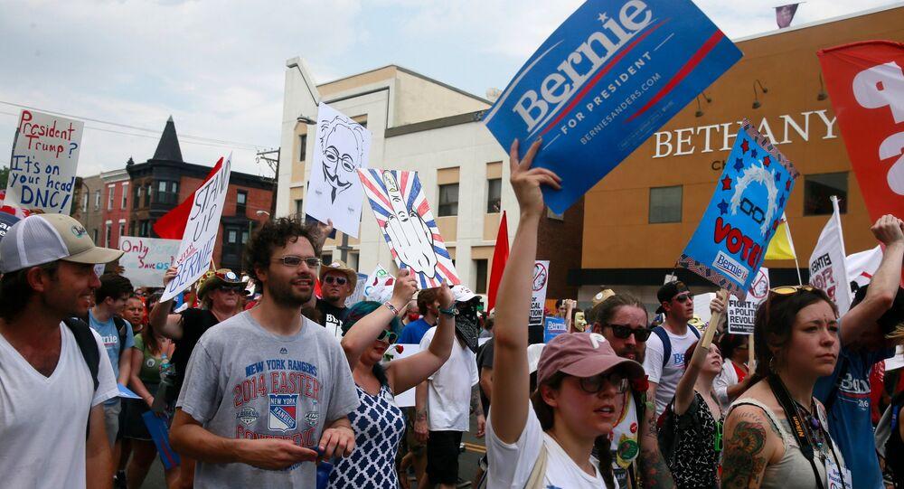 La manifestation des partisans de Bernie Sanders en Philadelphie