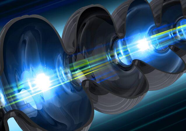 Des électrons passant par un onduleur, composante clé d'un laser à électrons libres