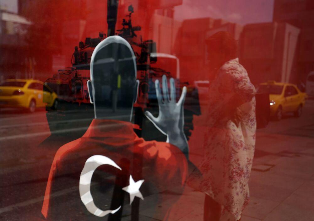 L'affiche d'une manifestation de soutien aux autorités turques