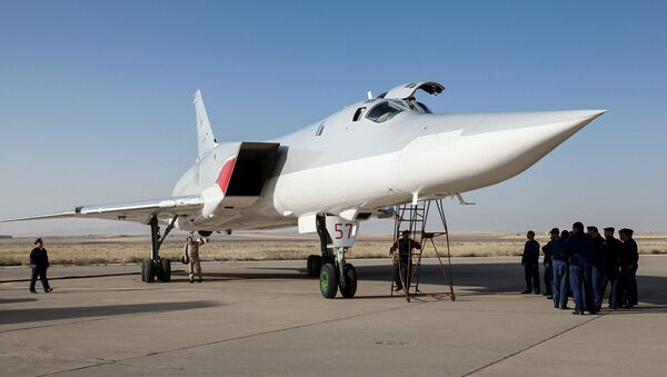 In this photo taken on Monday, Aug. 15, 2016, A Russian Tu-22M3 bomber stands on the tarmac at an air base near Hamedan, Iran. - Sputnik France