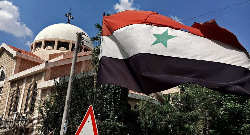 Le drapeau syrien à Alep, Syrie