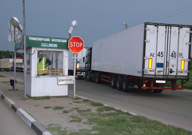 Le poste de contrôle douanier Krasnoïe, à la frontière russo-biélorusse