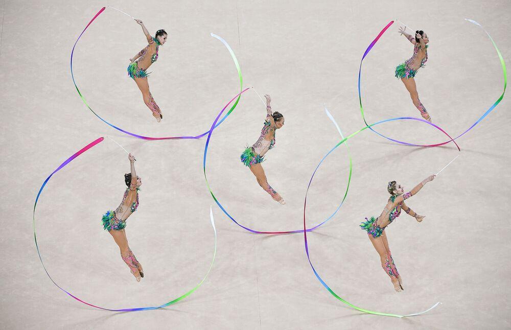 Les sportives de l'équipe de Russie lors en finale des compétitions de la gymnastique artistique lors des JO de Rio