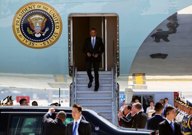 Le président américain Barack Obama arrive pour le sommet du G20 à Hangzhou