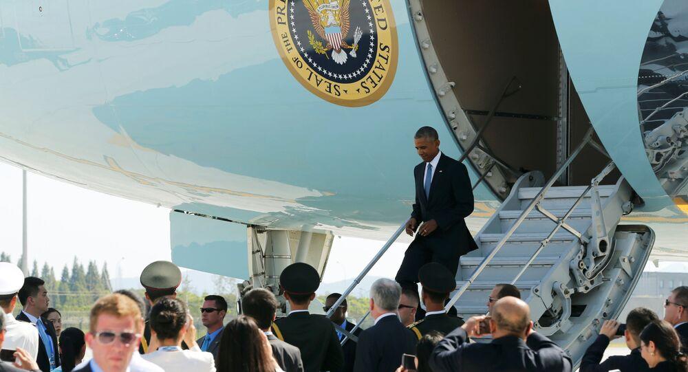 Barack Obama arrive à  Hangzhou.