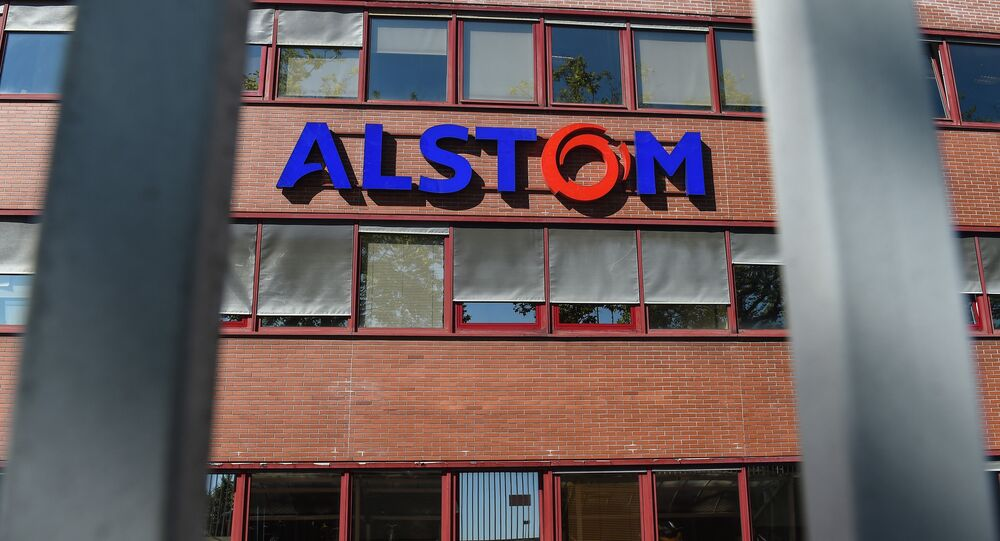 (FILES) This file photo taken on September 07, 2016 shows the logo of the French power and transport engineering company Alstom in Belfort, eastern France.