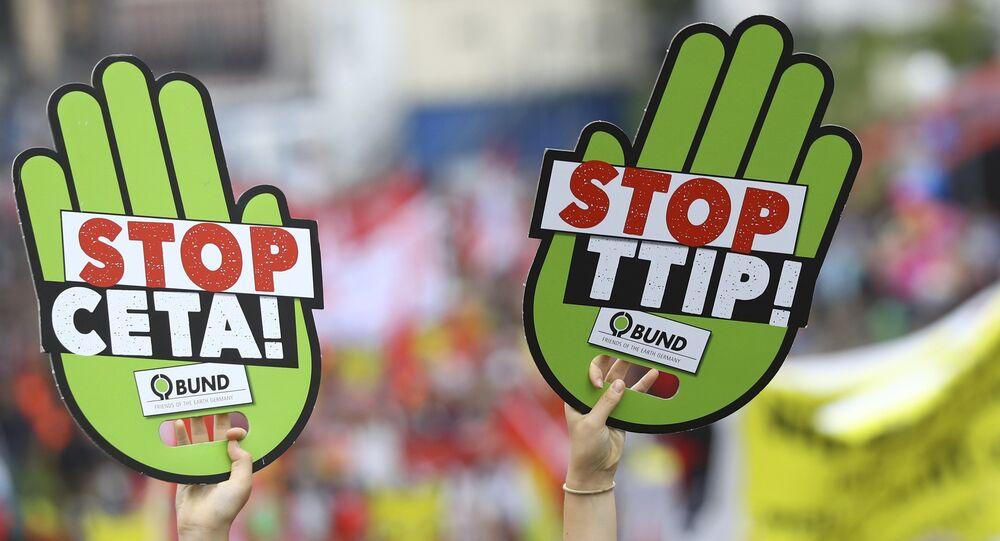 Manifestants contre le TTIP. Archive photo