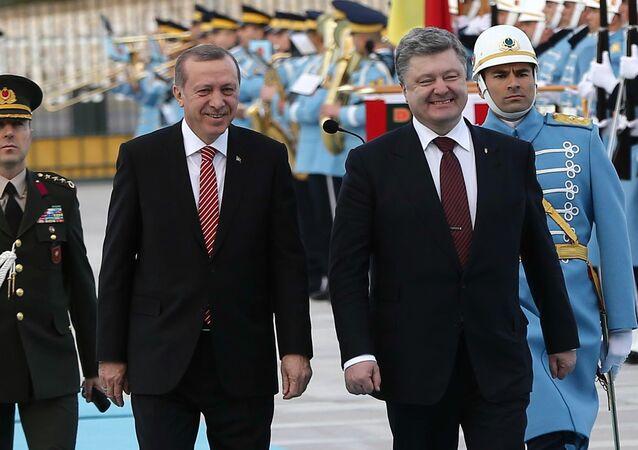 Türkischer Präsident Recep Tayyip Erdogan und ukrainischer Staatschef Petro Poroschenko in Ankara