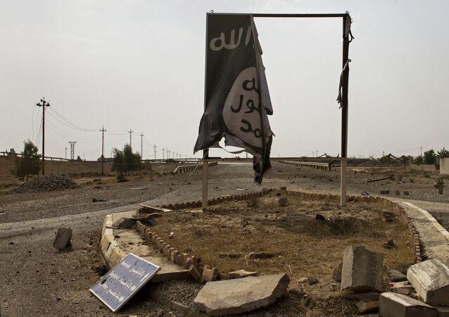 Un drapeau de Daech en Irak