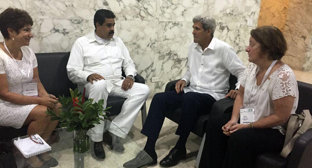 Le secrétaire d'Etat Kerry a rencontré lundi en Colombie le président vénézuélien Nicolas Maduro.