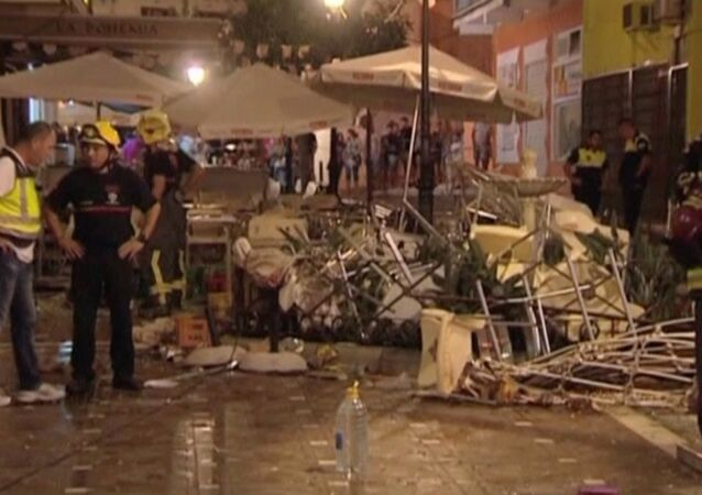 Lieu de l'explosion à Velez-Malaga, en Espagne