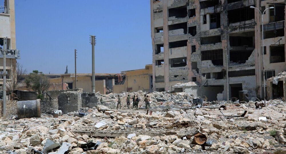 Les édifices situés à proximité de la route du Castello à Alep