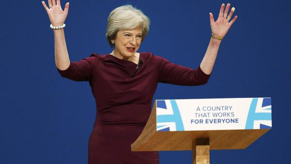 Britain's Prime Minister Theresa May gives her speech on the final day of the annual Conservative Party Conference in Birmingham, Britain, October 5, 2016. - Sputnik France
