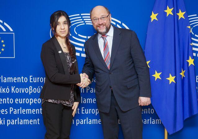 Président Schulz et Nadia Murad. Archive photo