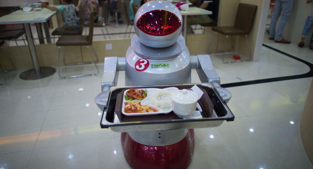 Robot livreur. Image d'illustration