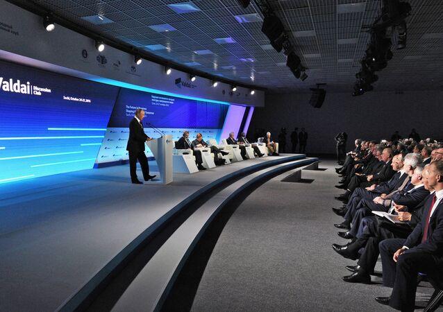 Vladimir Poutine lors d'une réunion du club Valdaï