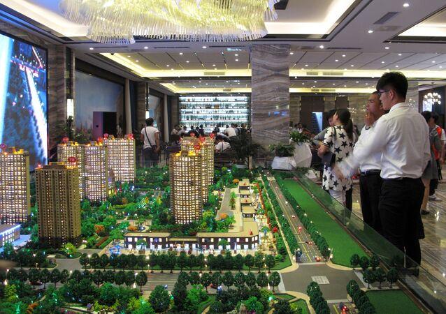 Modèles de bâtiments résidentiels en Chine. Image d'illustration