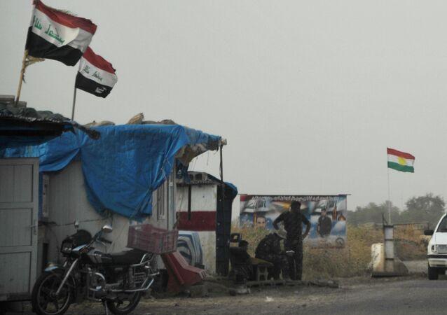 Un poste de contrôle des Forces armées du Kurdistan irakien