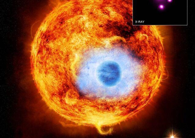 Une exoplanète. Image d'illustration