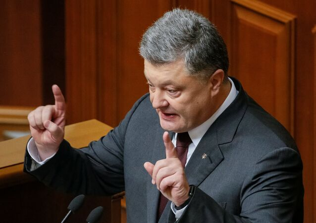 Ukrainian President Poroshenko addresses lawmakers opening a new session of Ukrainian parliament in Kiev