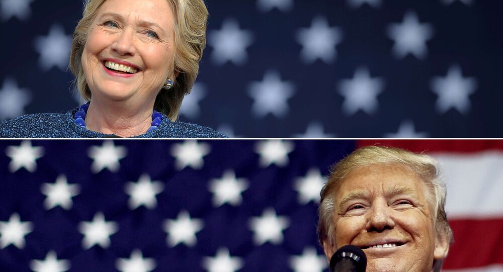 US presidential nominees Hillary Clinton (top) and Donald Trump speak at campaign rallies in Cedar Rapids, Iowa, US October 28, 2016 and Delaware, Ohio October 20, 2016 in a combination of file photos.