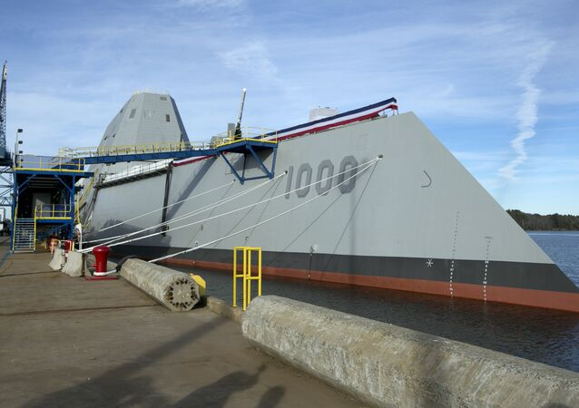 The Navy's stealthy Zumwalt destroyer is seen at Bath Iron Works, Thursday, Oct. 31, 2013, in Bath, Maine. It's the largest destroyer ever built for the Navy
