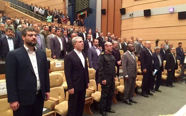 La cérémonie d'inauguration du salon Iran Air Show organisé par Kish Trade Promotion Center avec le concours de l'administration de la zone économique spéciale de Kish et l'autorité iranienne de l'Aviation civile (CAO-IRI). - Sputnik France
