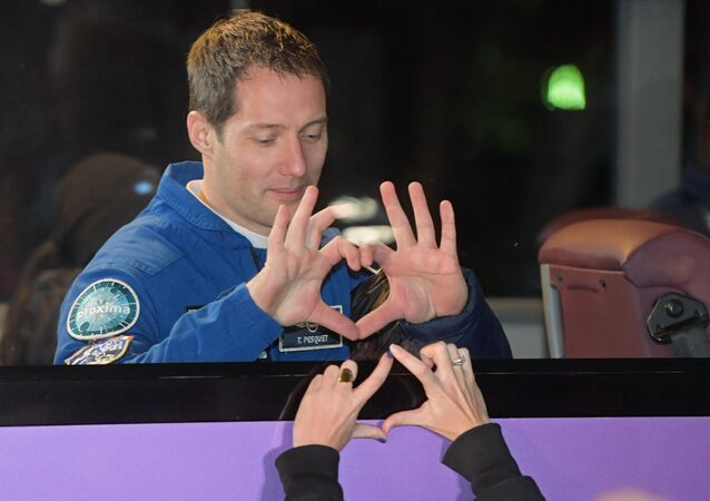 Thomas Pesquet, membre d'équipage du Soyouz SM-03, qui a décollé vers l'ISS
