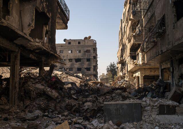 Un quartier en ruines à Damas