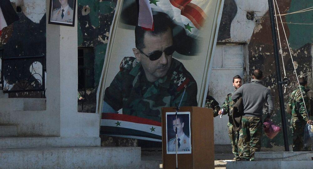 Photos du président Assad à Damas.