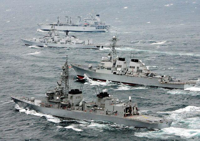 Navires du Japon, des USA et de l'Inde