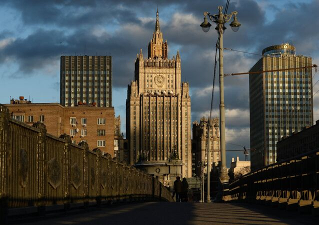 The Foreign Ministry building as seen from the Borodinsky Bridge in Moscow