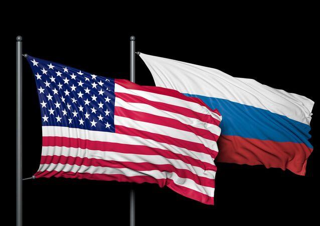 Drapeaux US et russe