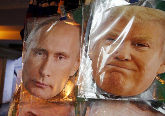 Les masques de Poutine et Trump