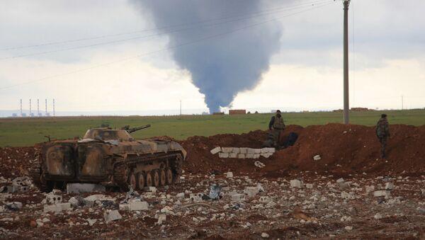 Les positions des forces de l'armée gouvernementale syrienne près de la ville d'Al-Bab, dans l'est de la province d'Alep, le 24 janvier 2016 - Sputnik France