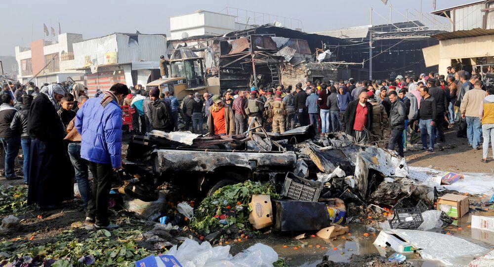 Un marché de Bagdad, dans le quartier chiite de Jamila, frappé par une explosion le 8 janvier