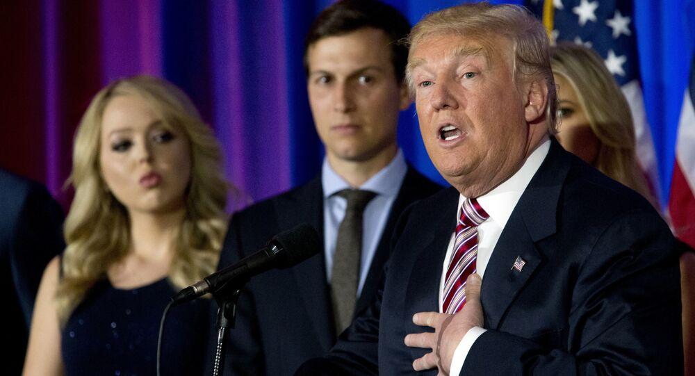 Donald Trump avec son gendre Jared Kushner et sa fille Tiffany